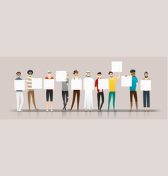 Group young men holding empty boards vector