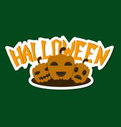 Halloween pumpkin with face on dark background vector