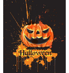Halloween watercolor pumpkin dark spooky vector