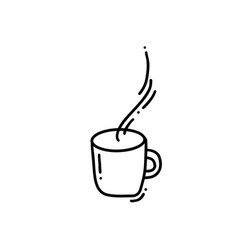 hand drawn doodle coffee cup sketched hot tea vector image