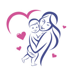 happy mother and basmiling family outlined vector image
