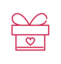 Happy valentines day wrapped gift box heart vector
