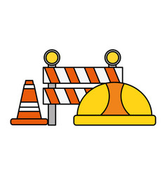Hardhat barrier cone traffic construction vector