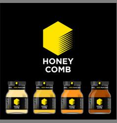 honey comb logo packaging mockup jar vector image