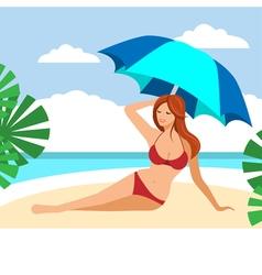 Hot brown hair girl on a beach under umbrella vector