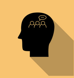 Human head black icon discussion symbol with long vector