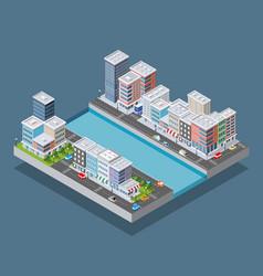 isometric city block vector image