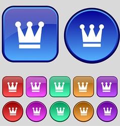 King Crown icon sign A set of twelve vintage vector image