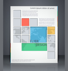 Layout business flyer with map magazine cover vector