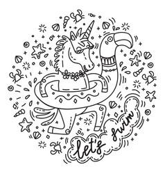 lets swim unicorn vector image