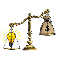 light bulb idea and money on scales vector image