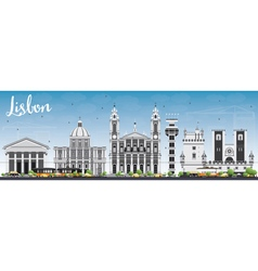 Lisbon Skyline with Gray Buildings and Blue Sky vector