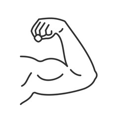 Male bicep linear icon vector