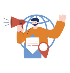 Man with megaphone envelope and gps mark vector