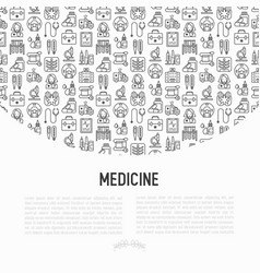 medicine concept with thin line icons vector image