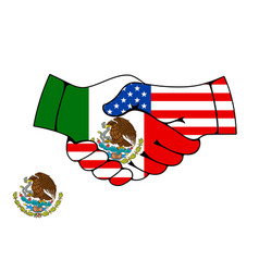 mexico and usa partnership handshake vector image