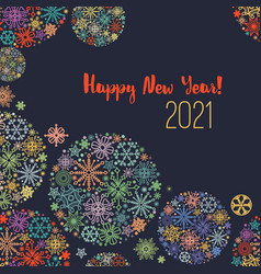 new year greeting card colorful snowflakes over vector image