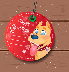 New year sale tag red with dog holiday discount on vector