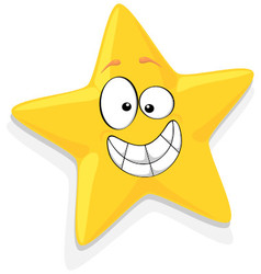 Of Happy Yellow Star Cartoon Characte vector