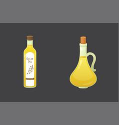 olive oil bottles in cartoon vector image