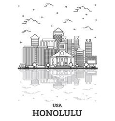 Outline honolulu hawaii usa city skyline vector