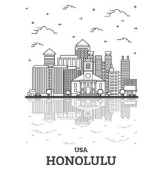 Outline honolulu hawaii usa city skyline with vector