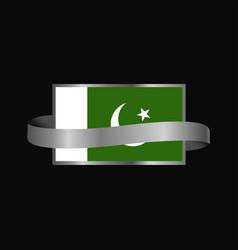 Pakistan flag ribbon banner design vector