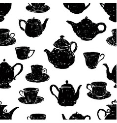 Pattern of the silhouettes of teacups and teapots vector