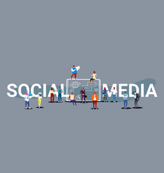 People group using tablet computer social media vector