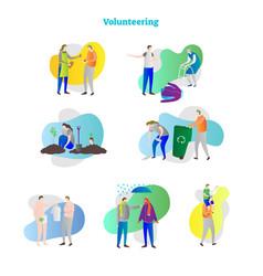 people volunteering scenes collection vector image