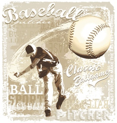 Pitching baseball vector