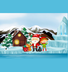 Scene with santa and elf cottage vector