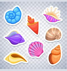 Sea shells stickers set vector