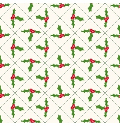 Seamless floral geometrical pattern with ilex vector image