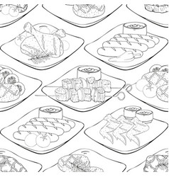 seamless pattern made from bbq elements barbecue vector image