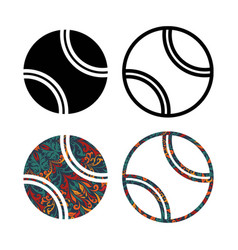 Set four tennis balls vector