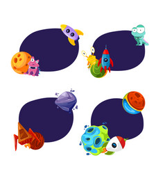 set of stickers planet and ship vector image