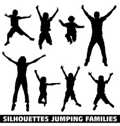 silhouette happy jumping family vector image