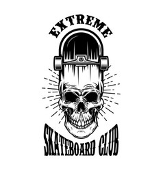 skateboard emblem with skull design element vector image