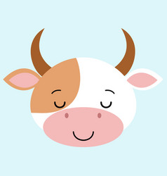 sleeping cow flat cartoon style cute vector image