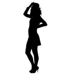 teen girl in hat poses silhouette vector image