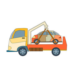 tow truck and car vector image
