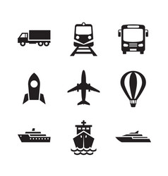transport icons set transportation logistic conce vector image