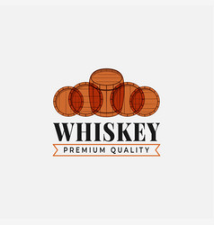 whiskey logo with whiskey barrels on white vector image
