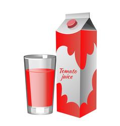 White carton boxes with tomato juice vector