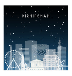 Winter night in birmingham night city in flat vector