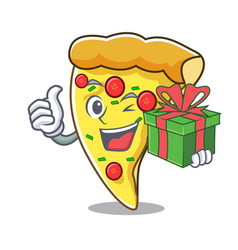 with gift pizza slice mascot cartoon vector image