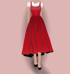 Woman in red dress black high heels and white vector