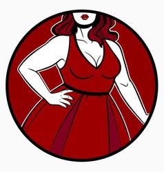 women dress on plus size model vector image