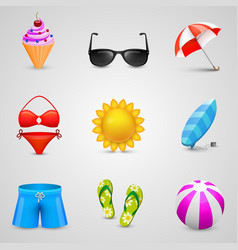 beach set of icons vector image